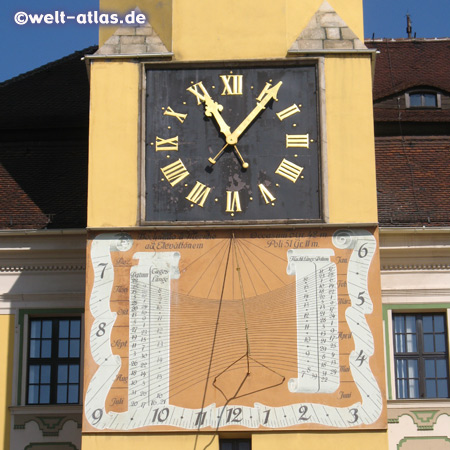 Sundial at clock tower, city hall, Bautzen