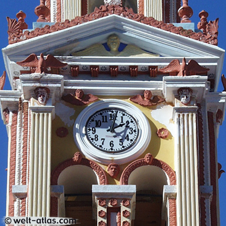 Clock tower, monastery Panormitis, island Symi, boat trip, Greece