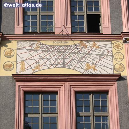 Renaissance buildings with sundials, Untermarkt of Görlitz