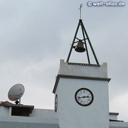 """""""O Relógio"""" is the building of wicker factory in Camacha, named after the bell tower with clock"""