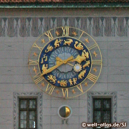 Clock on the tower of the Old Town Hall in Munich at the Marienplatz