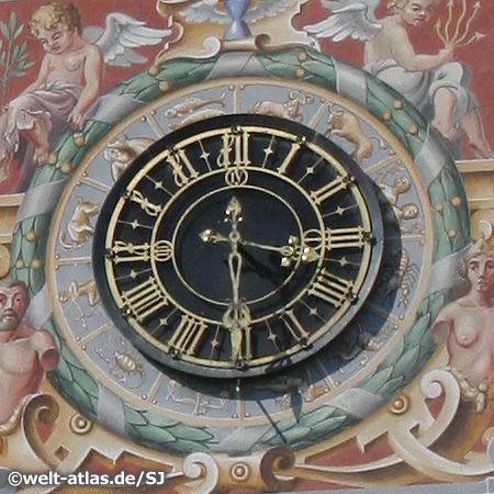 clock, town hall, Lindau, Bodensee, Bayern, Deutschland