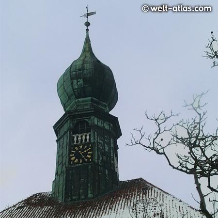Tower of St. Bartholomäus-Church in winter, Wesselburen, Germany
