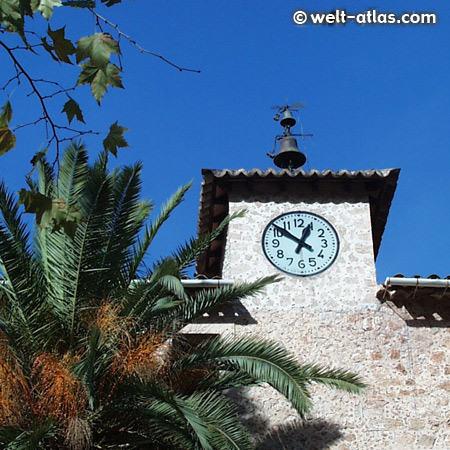 clock tower, church of Fornalutx, Majorca