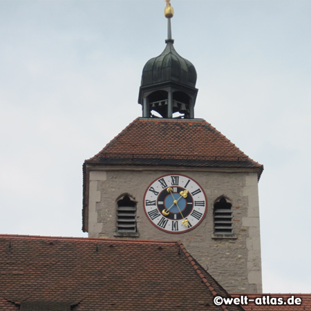 Clock tower of St. Johann church at Krauterermarkt square,  Regensburg
