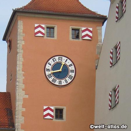 Clock at the Bridge Tower, World Heritage Visitor Centre Regensburg