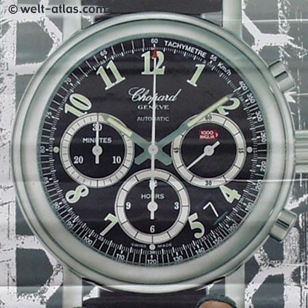 Uhrenplakat zur Mille Miglia, Brescia, Italien