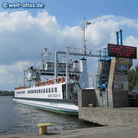 Ferry Karsibór in Świnoujście between Usedom and Wolin, Poland