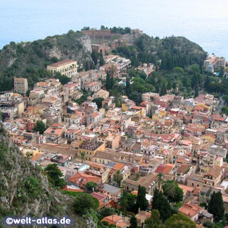 Taormina with amphitheatre view from Santuario della Madonna della Rocca, Sicily, Italy
