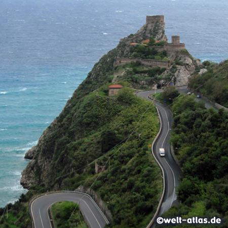 Castle of Capo Sant´ Alessio near Taormina, seen from Forza D'Agrò