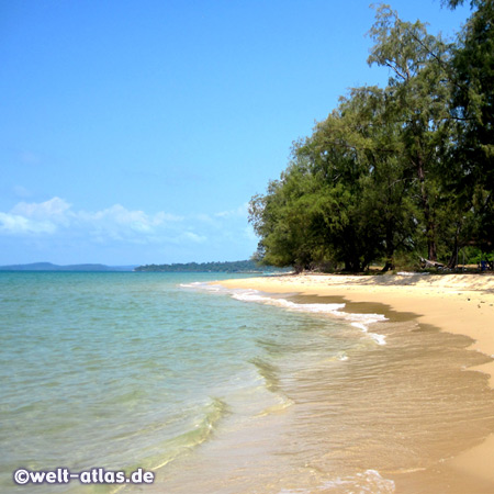 Beautiful Ong Lang beach with palm trees and casuarinas, Phu Quoc Island