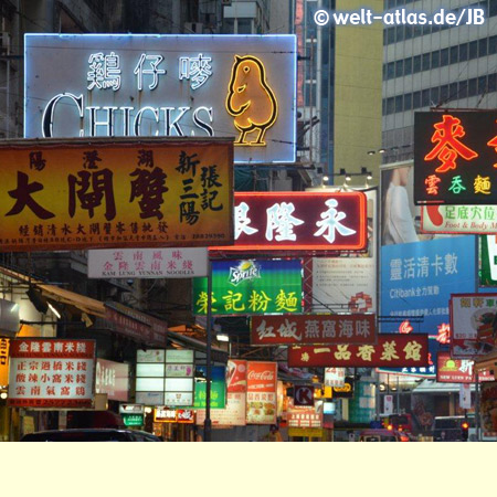 Glitzernde Neonzeichen und Lichter - Hong Kong-Island bei Nacht