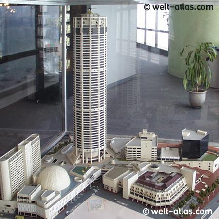 Modell des Komtar Tower, Georgetown, Penang