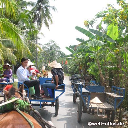 Mit klelnen Pferdekutschen geht' s über eine der Inseln