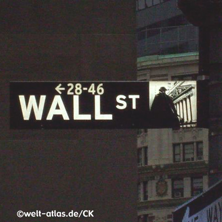 Straßenschild Wall Street bei Nacht