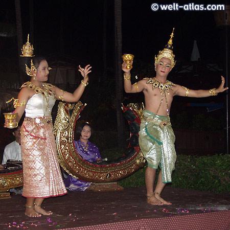Tanzdarbietung, Koh Samui, Paar bei Tempeltanz, Thailand