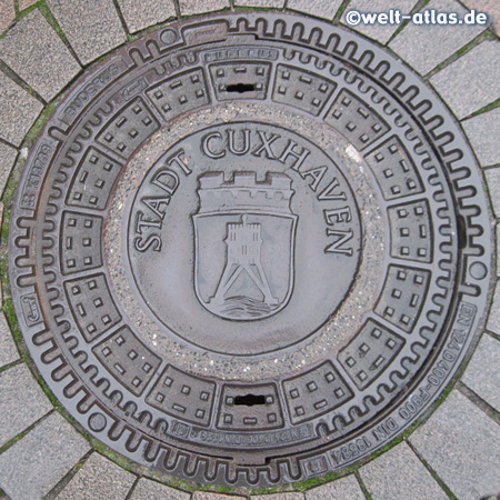 Cuxhaven, manhole cover with the landmark of the city, the Kugelbake