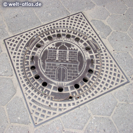Manhole cover with Coat of Arms,Free and Hanseatic City of Hamburg