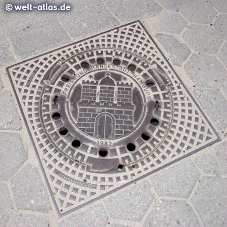 Sieldeckel mit Wappen der Freien und Hansestadt Hamburg (Burg, Stadttor mit 3 Türmen)