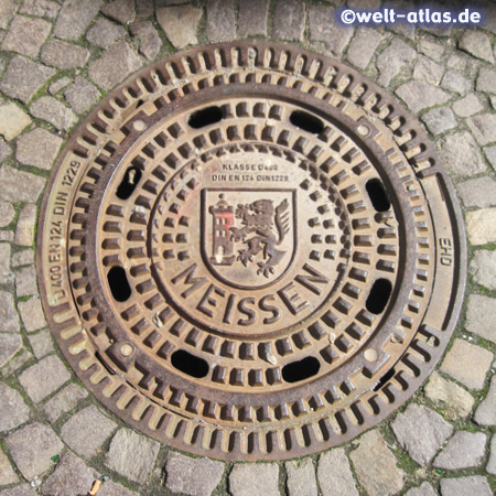 Manhole cover in Meissen with Coat of Arms
