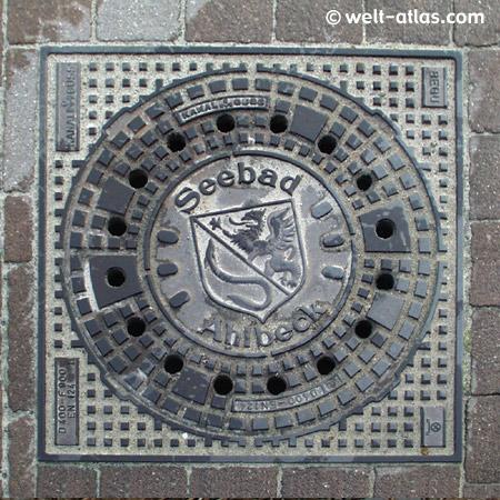Usedom, manhole cover of Seebad Ahlbeck