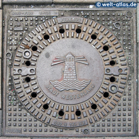 Manhole cover in Westerland with Coat of Arms, Sylt