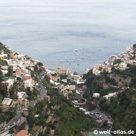 Positano, Blick aus den Bergen