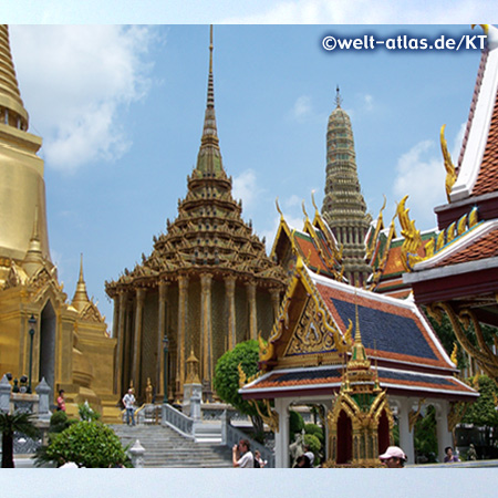 Rooftops and chedis at Wat Phra Kaew