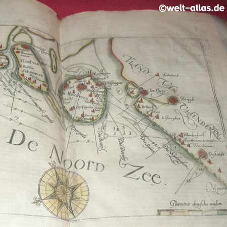 Antike Karte, Nordsee