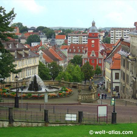 Gotha, Rathaus auf dem Hauptmarkt,Blick vom Schloßberg