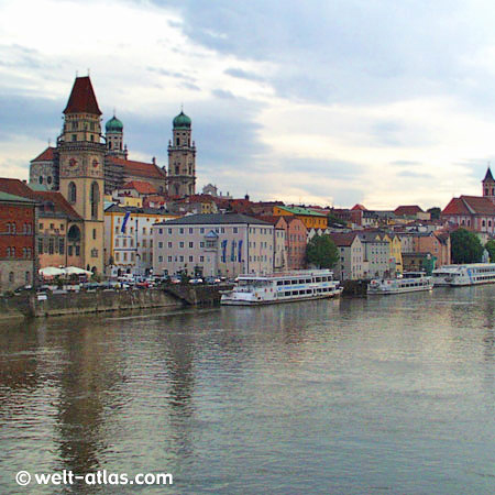 Passau, City of Three Rivers, City Hall and St. Stephan's Cathedral