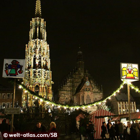Christkindlesmarkt of Nuremberg with Schöner Brunnen and Church of Our Lady