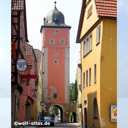 Klingentorturm in Ochsenfurt, Fachwerkhäuser, Mainfranken, Bayern, Deutschland