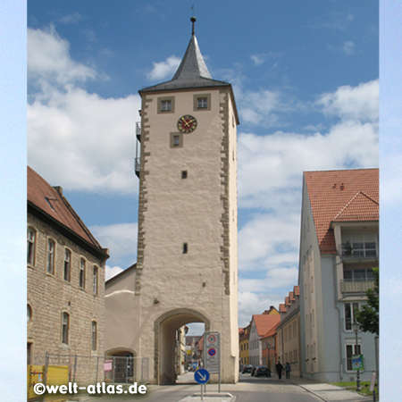 Würzburger Tor or Schweinfurter Tor, City gate of Hassfurt (Unteres Tor) in Lower Franconia