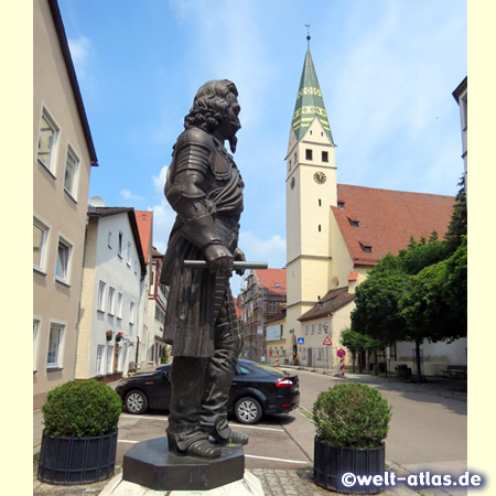 Statue of the Count of Pappenheim in the historic center of the town, Graf-Carl-Straße