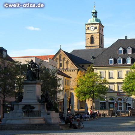 Market Square with Rückert monument and St. Johannis Church, Schweinfurt