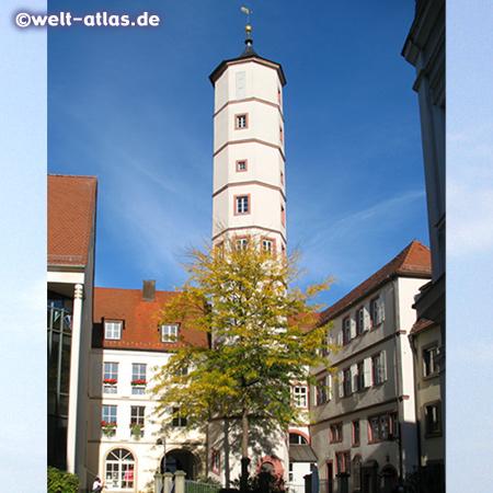 Der Schrotturm in der Schweinfurter Altstadt, ursprünglich der Treppenturm eines Renaissance-Hauses und später zur Herstellung von Schrotkugeln