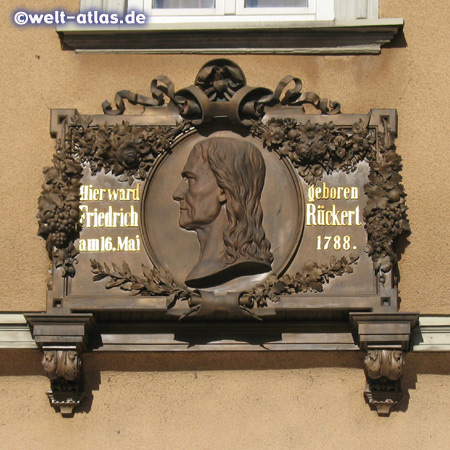 A plaque at the birthplace of Friedrich Rueckert in the city of Schweinfurt