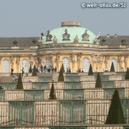 Schloss Sanssouci, Gartenseite mit Weinbergterrassen