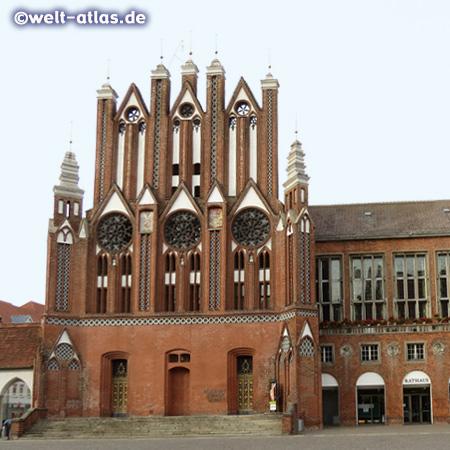 Brick Gothic gable of the Town Hall of Frankfurt (Oder) in Brandenburg
