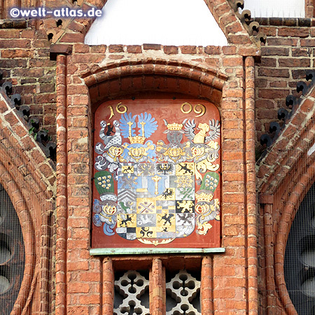 Detail of the brick Gothic gable at the Town Hall of Frankfurt (Oder) in Brandenburg