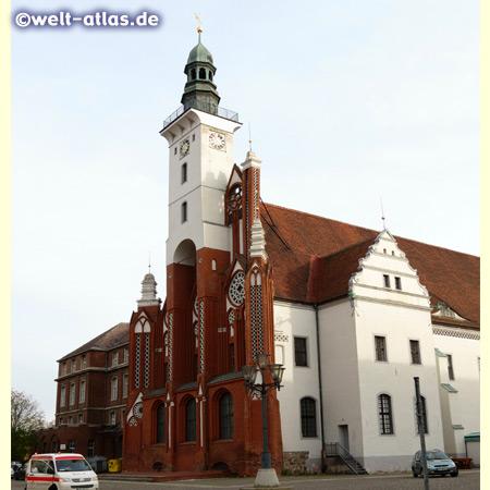 Tower of the Town Hall (northwest side) of Frankfurt (Oder) in Brandenburg