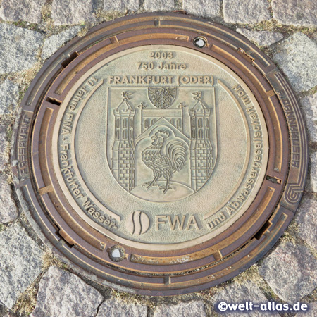 Sieldeckel mit dem Wappen der Stadt Frankfurt (Oder) in Brandenburg - Zusatz 2003 750 Jahre
