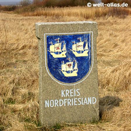 alter Grenzstein Kreis Nordfriesland am Eidersperrwerk