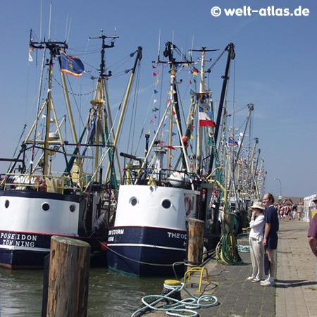Krabbenkutter am Eidersperrwerk,Schutz vor Sturmfluten der Nordsee