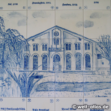 Tiles in the old sauerkraut factory in Wesselburen, Dithmarschens well known cabbage region