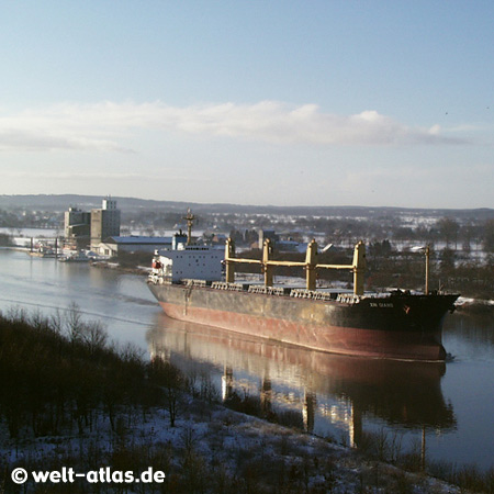 Kiel Canal, between the North Sea at Brunsbüttel and the Baltic Sea at Kiel-Holtenau