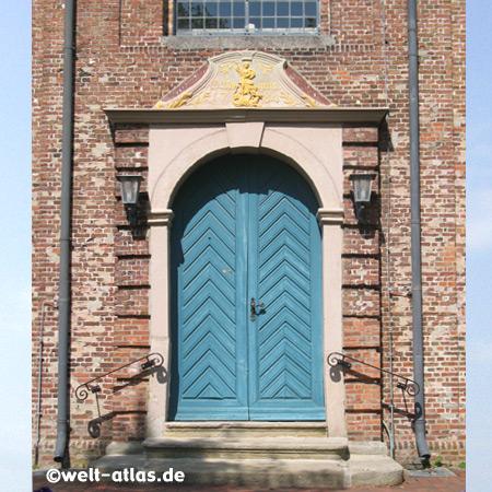 Tür der Kirche zu St. Margarethen, spätbarocke Backstein-Saalkirche,schönes Dorf 1988, Kreis Steinburg