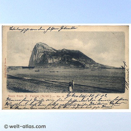 Old postcard of Gibraltar from  1902