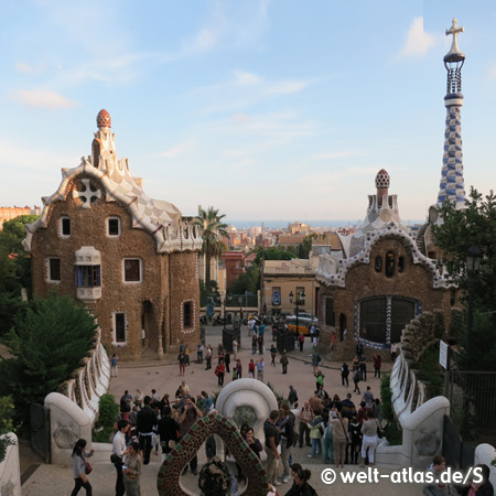 Entrance buildings of Park Güell, Antonio Gaudi, Barcelona